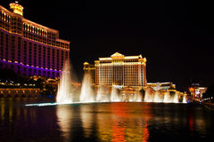 Light and water show. Dancing musical fountains of the Bellagio Hotel royalty free stock photography