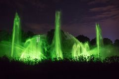 Light and water show on Fountain in the Night, Planten un Blomen, Hamburg, Germany Stock Images