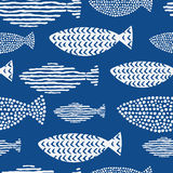 Light watercolor fishes. Seamlessly tiling fish pattern. Royalty Free Stock Photos