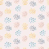 Light watercolor pattern with mess of color stains. Light seamless watercolor pattern with mess of rounded color stains on pale pink background. Beautiful hand stock illustration