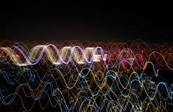 Light wave background. Colorful light wave on dark background stock illustration