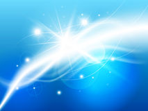 Light waves abstract. Soft and smooth waves of light on a blue background Stock Photography