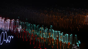 Light Waves. Lights creating motion blur, white Illuminated dark  Background, showing a lot of small lights seen at evening and during night, urban illumination Stock Photos