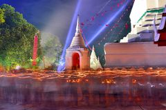Light waving rite. Walk with lighted candles in hand around a temple or stupa or pagoda Stock Images