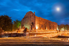 A light waving rite. At Wat Maheyong, Ayutthaya, Thailand Royalty Free Stock Image