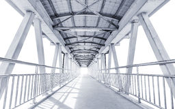 Light from the way out of modern metal structure bridge Royalty Free Stock Image