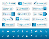Light web buttons with blue bookmarks and icons royalty free illustration