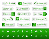 Light web buttons with green bookmarks and icons Royalty Free Stock Photo