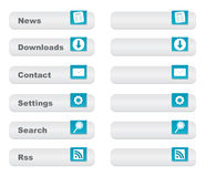 Light website button set with icons,  Royalty Free Stock Photos