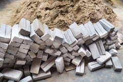 Light weight and cheap sand bricks at construction site Royalty Free Stock Images