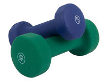 Light weight dumbell isolated. Light weight dumbell work out equipment isolated over white background Royalty Free Stock Image