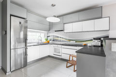 Light well equipped kitchen idea. New style light kitchen interior with functional furniture, silver fridge, wooden step stool, window and high gloss flooring Stock Photography