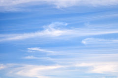 Light white cirrus clouds on blue sky Royalty Free Stock Image