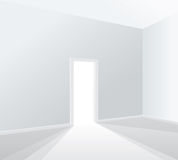 Light white room. Empty white room with opened door Royalty Free Stock Photo