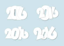 Light white style 2016 new year combinations concept. Isolated Royalty Free Stock Image