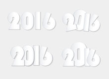 Light white style 2016 new year combinations concept. Isolated Stock Photo