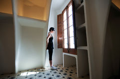 In light of the window. A dark hair woman in the light of the window Royalty Free Stock Photo