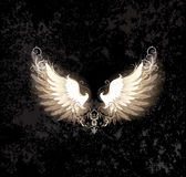 Light wings. Glowing angel wings , decorated with a pattern on a dark textural background Royalty Free Stock Image