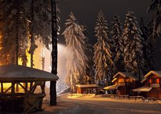 Light of winter. Winter wonderland at Borovets in a beautiful night Stock Photography