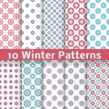 Light Winter Romantic Vector Patterns (tiling). Royalty Free Stock Photos