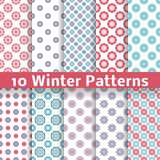 Light winter romantic vector patterns (tiling). 10 Light winter romantic vector patterns (tiling). Shabby chic red, white and blue colors. Snowflakes background Royalty Free Stock Photos