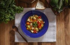 Light winter vegetable soup in blue bowl stock image
