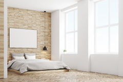 Light wood bedroom, side Royalty Free Stock Image