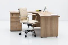 Light wood desk Stock Photo