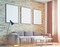 Light wood walls living room, side, toned. Side view of a living room with light wooden walls, a long sofa and three framed vertical posters hanging above it. 3d Royalty Free Stock Images