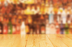Light wood worktop in front of bar Stock Image