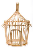 Light wooden bird cage on white background Stock Photography