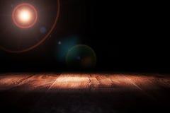 Light on wooden. Floor in empty room Stock Photos