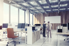 Light Wooden Open Office, Computers, Men, Side Royalty Free Stock Photos