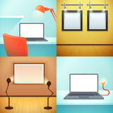 LIght Workplace Mockups Design Concept Stock Photo