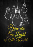 Light of the world bulb sketch background. Digital art Royalty Free Stock Images