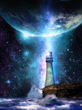 Light the World. Lighthouse that illuminates the universe, and seems to be showing to the Earth the path for salvation Royalty Free Stock Images