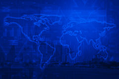 Light world map on city tower, business graph Stock Image