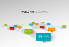 Light World map with droplets pointer marks Stock Photos