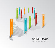Light World map with droplets pointer marks Stock Photo
