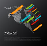 Light World map with droplets pointer marks Royalty Free Stock Images