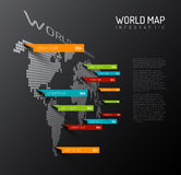 Light World map with droplets pointer marks Royalty Free Stock Photo
