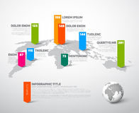 Light World map infographic template Stock Image