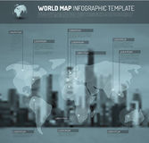 Light World map with pointer marks (flags) Royalty Free Stock Image