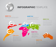 Light World Map With Pie Charts Royalty Free Stock Images