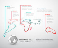 Light World thin line map infographic template Royalty Free Stock Photography