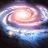 Light Years Away. Distant spiral galaxy vector illustration