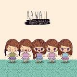 Light yellow background set cute full body kawaii little girls. Vector illustration Stock Photos