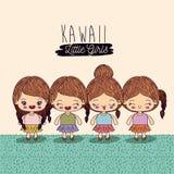 Light yellow background set four cute full body kawaii little girls. Vector illustration Stock Images
