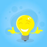 Light Yellow Bulb Cartoon Character Concept Idea Stock Photos