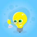 Light Yellow Bulb Hold Test Tube Science Chemistry. Cartoon Character Concept Idea Emotion Happy Smile Face Flat Vector Illustration Royalty Free Stock Photo